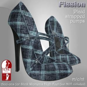 Fission-Plaid strapped pumps-Blue