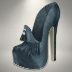 Fission-Suede tassel pumps-BlueGray